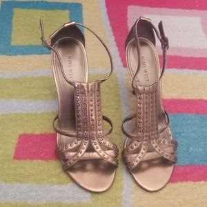 Nine West Studded Metallic Copper Heels